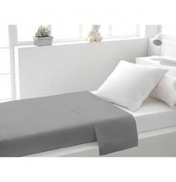 Drap plat uni en coton - 180 x 290 cm - Gris