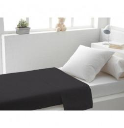 Drap plat uni en coton - 180 x 290 cm - Noir