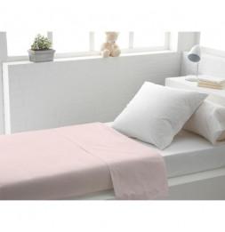 Drap plat uni en coton - 180 x 290 cm - Rose