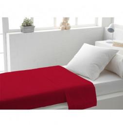Drap plat uni en coton - 180 x 290 cm - Rouge
