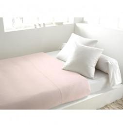 Drap plat uni en coton - 240 x 290 cm - Rose