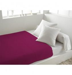 Drap plat uni en coton - 240 x 290 cm - Violet