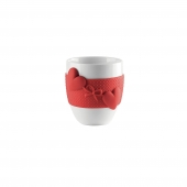 Mug avec tour en silicone motif coeur - D 8,4 x H 10 cm - Rouge