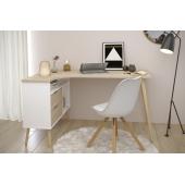 Bureau d'angle style scandinave - Gamme Norsk - l 145 x P 81 x H 75 cm - Blanc
