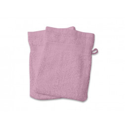 Lot de 2 gants de toilette 550Gr/m2 - 16 x 21 cm - Coton - Rose