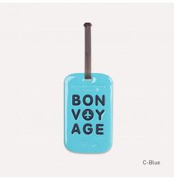 Etiquette de bagage - Bon voyage - Bleu