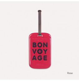 Etiquette de bagage - Bon voyage - Rose
