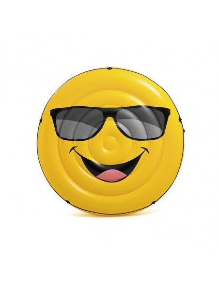 Île gonflable smiley - D 173 x H 27 cm - PVC - Jaune