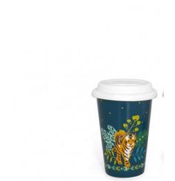 Mug de transport Tigre - 400 ml - Porcelaine - Bleu
