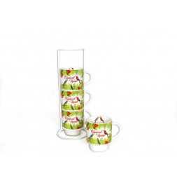 Set de 4 mugs Tropical sur colonne - 200 ml - Porcelaine