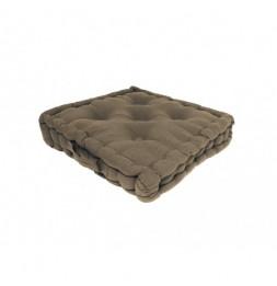 Coussin tapissier Panama en coton - L 50 x l 50 x H 10 cm - Taupe