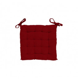 Galette de chaise capitonné Alix - L 40 x l 40 x H 5 cm - Rouge