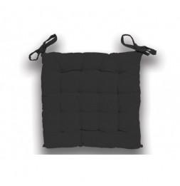Galette de chaise capitonné Panama en coton - L 40 x l 40 x H 5 cm - Gris foncé