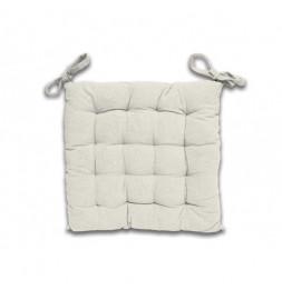 Galette de chaise capitonné Panama en coton - L 40 x l 40 x H 5 cm - Beige