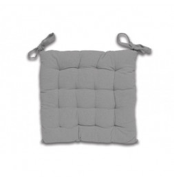 Galette de chaise capitonné Panama en coton - L 40 x l 40 x H 5 cm - Gris clair