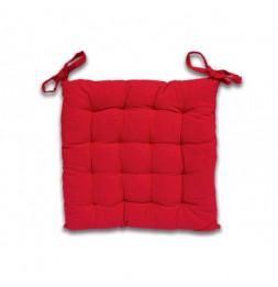 Galette de chaise capitonné Panama en coton - L 40 x l 40 x H 5 cm - Rouge
