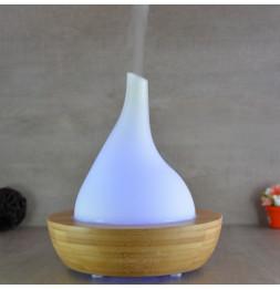 Diffuseur d'huiles essentielles - Rond sur pied bois - Brumisateur en verre - Appareil d'aromathérapie