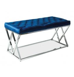 Banc en tissu de velours - 100 x 46 x 48 cm - Bleu