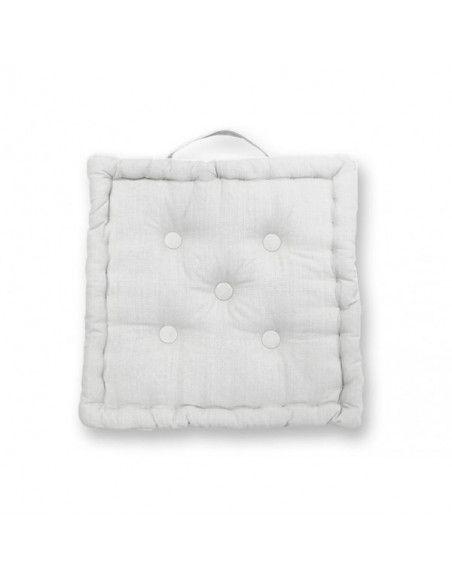 Coussin tapissier Panama en coton - 50 x 50 x 10 cm - Blanc