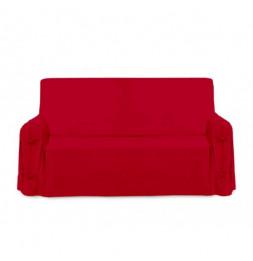 Housse de canapé Panama en coton - 90 x 205 x 60 cm - Rouge