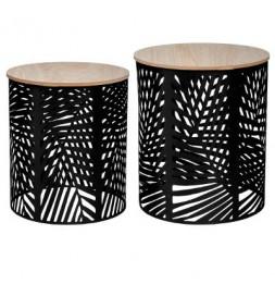 Set de 2 tables à café - Design feuille - Noir