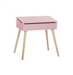 Bureau d'écolier - Pupitre en bois - 63,5 x 45,5 x 62,4 cm - Rose