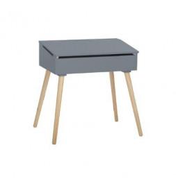 Bureau d'écolier - Pupitre en bois - 63,5 x 45,5 x 62,4 cm - Gris