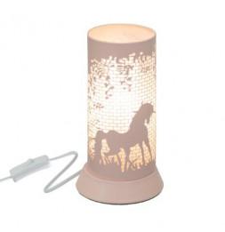 Lampe à poser - Décor cheval - D 11,5 x H 20,5 cm - Rose