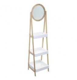 Etagère 3 niveaux avec miroir - Lea - 39 x 40 x 160 cm