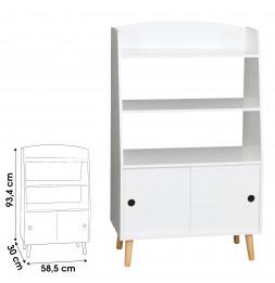Bibliothèque en bois pour enfant - L 58,5 x l 30 x H 93,4 cm - Blanc