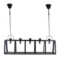 Suspension à 5 têtes en métal et verre - L 100 x l 21 x H 32 cm - Noir