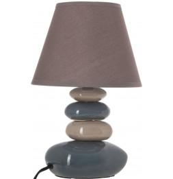 Lampe 4 galets abat-jour marron foncé - Lampe à poser - D 20,5 x H 31 cm - Gris et Taupe