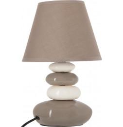 Lampe 4 galets abat-jour marron clair - Lampe à poser - D 20,5 x H 31 cm - Blanc et Taupe