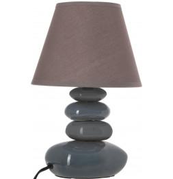 Lampe 4 galets abat-jour marron foncé - Lampe à poser - D 20,5 x H 31 cm - Gris