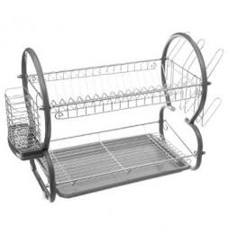 Egouttoir à vaisselle double niveau - 52 x 26 x 39 cm - Gris