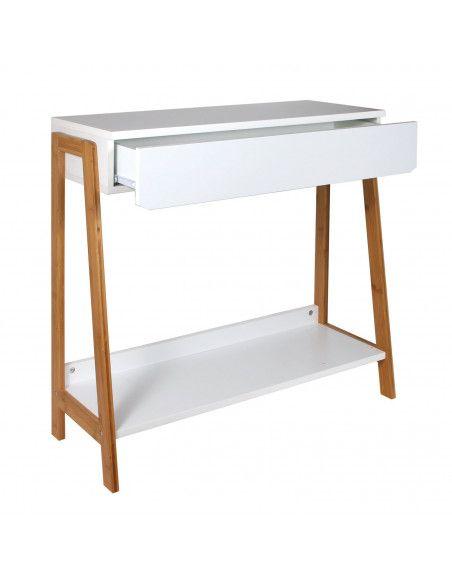 Console avec tiroir - L 83,8 x l 34 x H 77 cm - Blanc