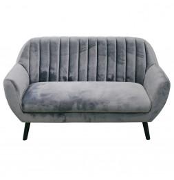 Canapé Sofia 2 places avec revêtement en en velours - L 142 x l 64 x H 84 cm - Gris