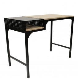 Bureau design alliant bois et métal - L 100 x l 50 x H 75 cm - Beige