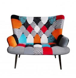 Canapé Helsinki Patchwork - L 118 x l 72 x H 100 cm - Multicolore