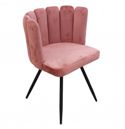 Chaise Ariel revêtement en velours - Rose