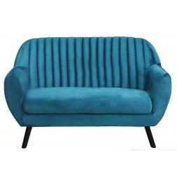 Canapé Sofia 2 places avec revêtement en en velours - L 142 x l 64 x H 84 cm - Bleu