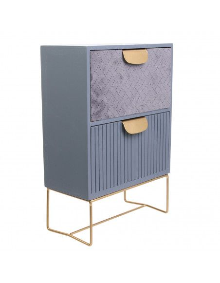 Rangement de table 2 tiroirs - Organisateur L30 cm - Bois et velours - Bleu