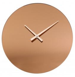 Horloge murale couleur cuivre - Miroir fumé - Pendule moderne