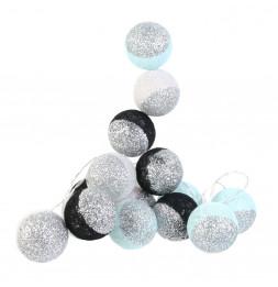 Guirlande LED 3m boules 6 cm bicolores - Noir et bleu à paillettes