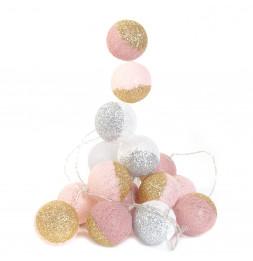 Guirlande LED 3m boules 6 cm bicolores - Rose et blanc à paillettes