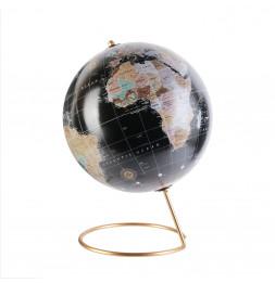Globe terrestre - Noir et or - D 21 cm - Décoration bureau