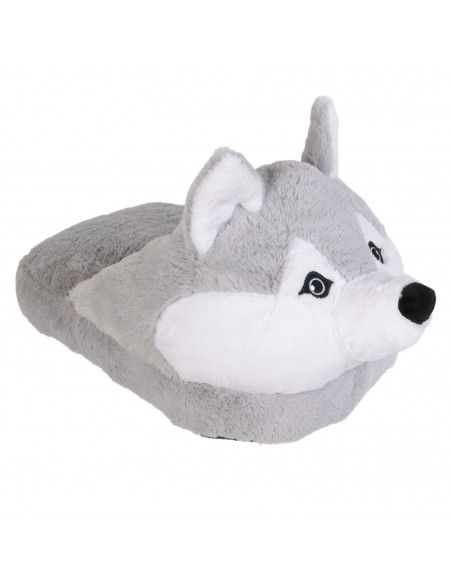 Chausson double - Chien husky gris - Polaire