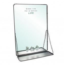 Miroir 35 x H 50 cm avec tablette suspendue - Chainettes - Noir
