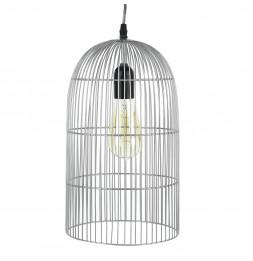 Suspension cage filaire 20x80 cm - Plafonnier argent mat