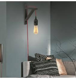 Applique murale - Bois noir et cable rouge - Luminaire suspendu